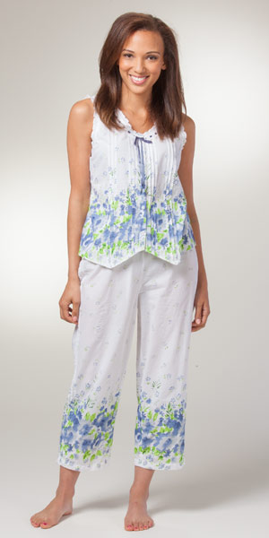 Plus Cotton Pajamas - La Cera Sleeveless Capri Pajamas in Meadow Mist
