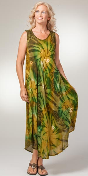 Long Beach Dress - Sleeveless One Size Rayon Cover Up in Dynasty