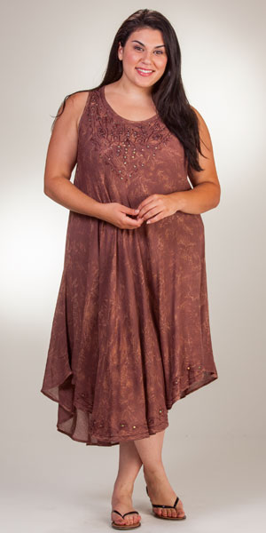 Plus Beach Dress - Long Cotton One Size Sleeveless Dress - Mocha Batik