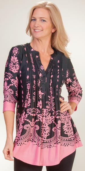 3/4 Sleeve La Cera Poly Blend Pleated Tunic Top - Ethereal Pink