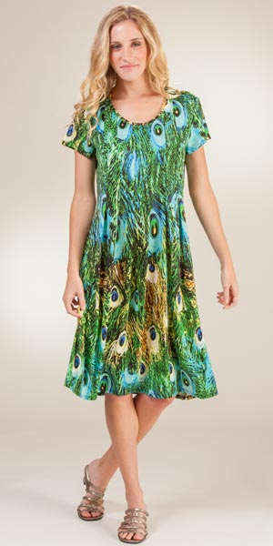 La Cera Dresses - Casual Short Sleeve Poly Dress in Peacock Pretty