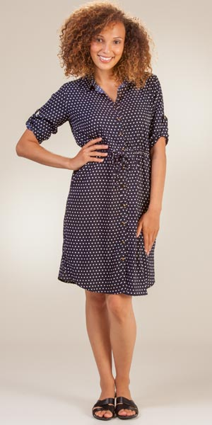 Gathered Shirt Dress - Claudia Richards Roll Sleeve in Navy Dots