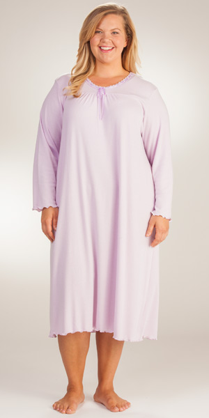 Plus La Cera Knit Long Sleeve Ballet Nightgown - Lilac Maiden