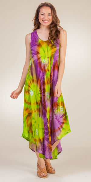 Women's Beach Dress - Sleeveless Rayon One Size Long Dress in Lime Burst