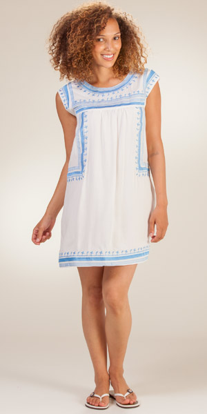 Sleeveless Coverup - Short Embroidered Rayon Beach Dress - Roma White