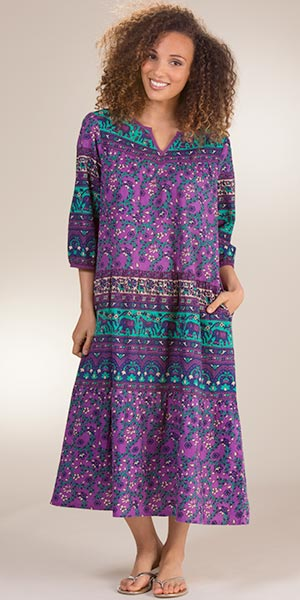 100% Cotton La Cera 3/4 Sleeve Muumuu Lounger Dress in Himalayan Floral