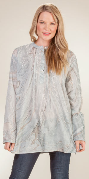 Cotton Tunic Top - Long Sleeve Blouse in Slate