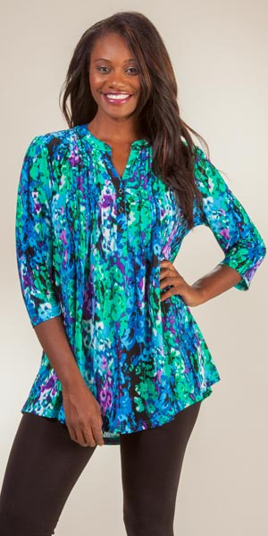 Tunic Tops by La Cera - 3/4 Sleeve Poly Blend Pleated Top - Wishing Well