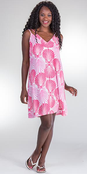 Peppermint Bay Knee Length Rayon Sleeveless Sundress - In The Pink