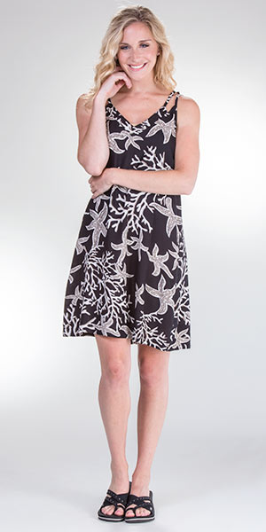Rayon Knee Length Sleeveless Dress By Peppermint Bay in Sea Life
