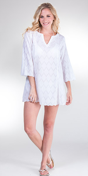 Peppermint Bay 2/3 Sleeve Cotton Beach Tunic Coverup - White Diamonds
