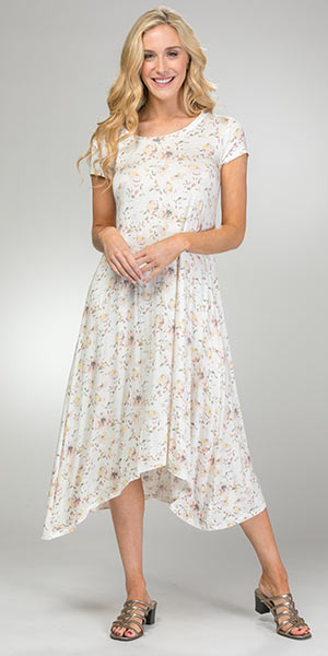 Cap Sleeve DownEast Rayon Blend Floral Dress in Country Floral