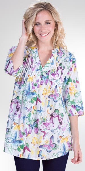 La Cera 3/4 Sleeve Cotton Pleated Tunic Top in Twilight Butterfly