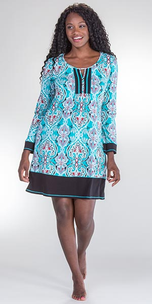 Ellen Tracy Long Sleeve Cotton Rayon Nightshirt in Joyful Teal