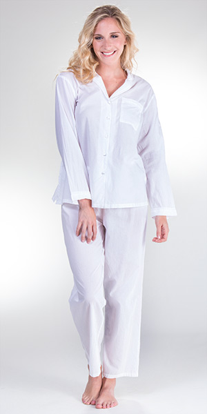 Cotton Pajamas - La Cera Boutique Long Sleeve PJs in Essential White