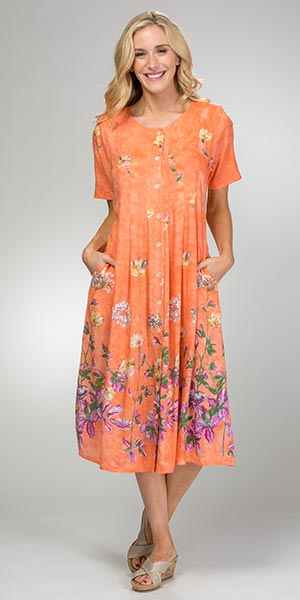 La Cera Rayon Dresses - Button Front Short Sleeve in Peach Oasis