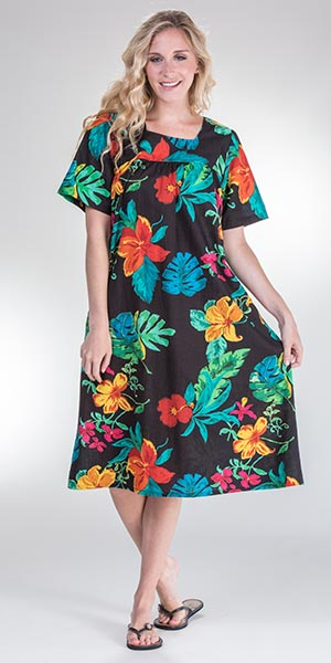 Plus La Cera Cotton Dress - Short Sleeve House Dress in Paradise Floral