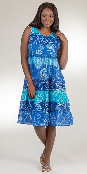Cotton La Cera Dress - Mid-Length Tiered Sleeveless Dress in Blue Nuance