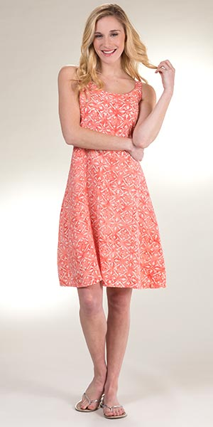 Lost River Sleeveless Tie-Back Rayon Sundress in Sea Coral