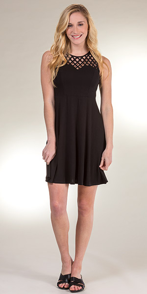 Neesha Sleeveless Dress - Criss Cross Rayon Blend Dress in Black