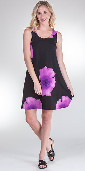 Pretty Woman Sleeveless A-Line Dress in Purple Botanical