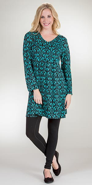 La Cera Plus Dresses - Long Sleeve Poly Blend Empire Waist in Ornate Turquoise