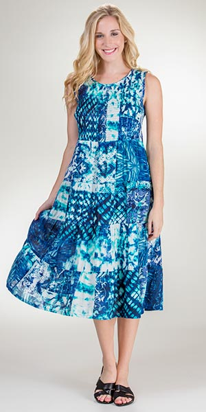 Rayon La Cera Sleeveless Semi-Sheer Long Beach Dress - Cool Reflections