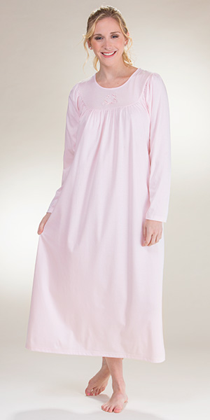 Calida Nightgown - Cotton Knit Long Sleeve Nightgown in Pink