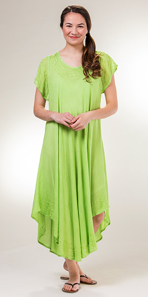 One Size Women's Dresses - Cotton Cap Sleeve Long Dress in Lime