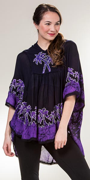 Plus Size Poncho Top - Cotton V-Neck Easy Fit in Purple Palms