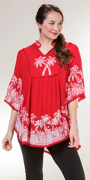 Women's Ponchos - Cotton V-Neck Plus Top in Red Palms