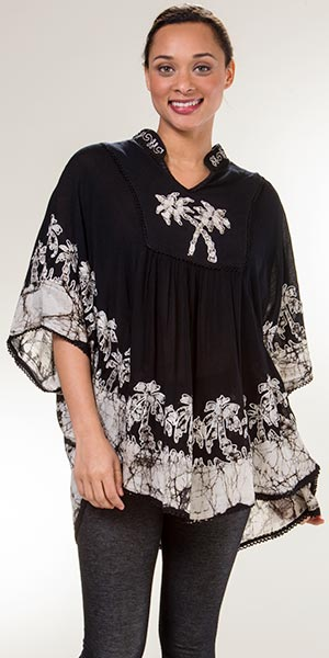 Cotton Top - V-Neck One Size Poncho Top in White Palms