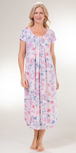 Plus Nightgowns - Miss Elaine Flutter Sleeve Long Knit Nightgown in Floral Garden