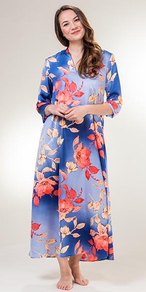 Natori Long Kaftans - 3/4 Sleeve V-Neck Poly Lounger in Ombre Floral