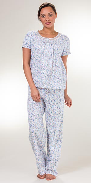 Carole Hochman Cotton Knit Short Sleeve Pajamas in Floral Ditsy