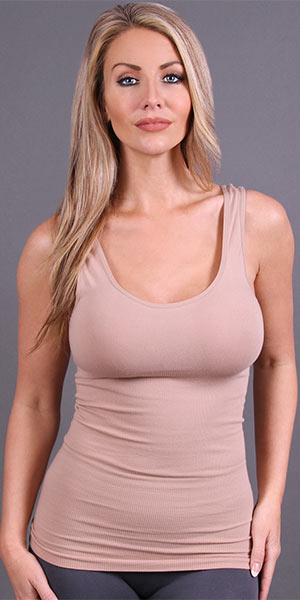 Coobie Tank Tops - Wide Strap Ribbed Camisole in Nude
