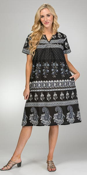 Cotton La Cera Dresses - Short Sleeve Muu Muu Dress in Paisley Shade