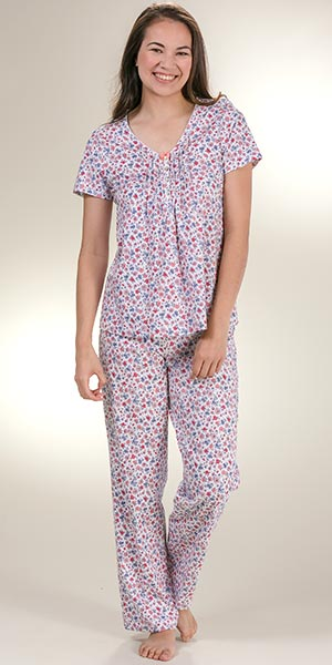 Pajamas by Carole Hochman - Short Sleeve 100% Cotton PJs in Daisy Field