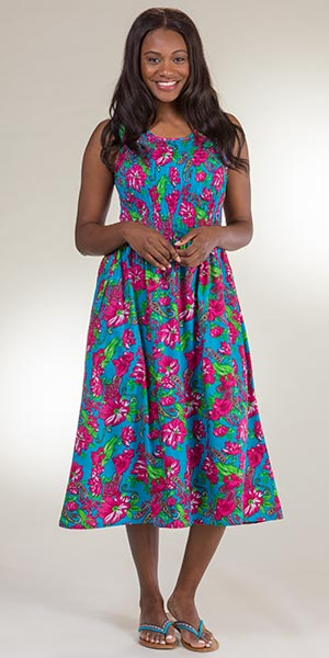 Metropolitan Cotton Sleeveless Plus Size Sundress - Smocked Long Dress in Caribbean Floral