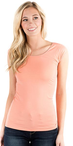 Downeast Wonder Tee Cotton Spandex Blend Top in Desert Pink