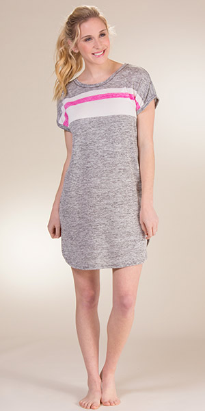 Kensie Sleep Shirts - Short Sleeve Night Shirt in Marled Grey