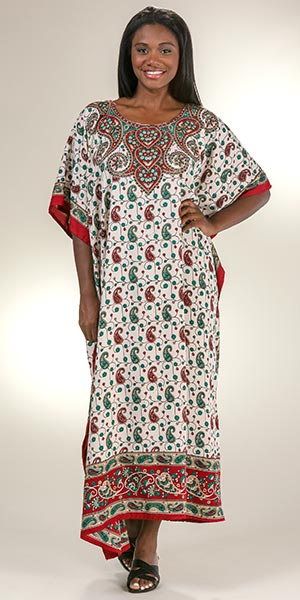 Sant&eacute Polyester One Size Fits Most Kaftan - Festive Paisley