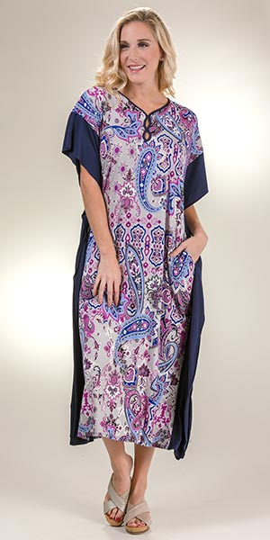 Women's Caftans - Plus Ellen Tracy Long Polyester Caftan in Decorative Paisley