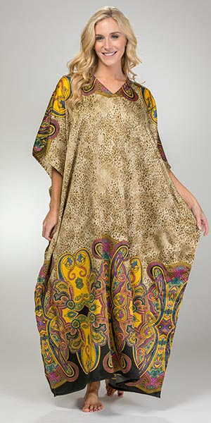 Sante Women's Kaftans - One Size Polyester V-Neck Lounger in Fancy Cheetah