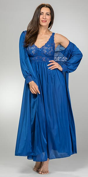 Peignoir Set - Shadowline Silhouette Nightgown Robe Set in Navy