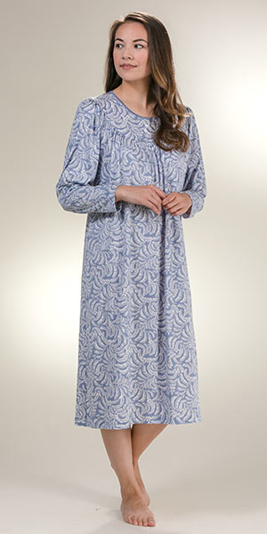 Calida Long Sleeve Nightgowns - Cotton Knit in Blue Arbor