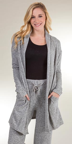 Plus La Cera Cozy Lounge Long Sleeve Rayon Blend Cardigan Sweater in Heather Gray
