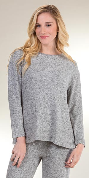 Plus Rayon Blend Top - La Cera Cozy Lounge Long Sleeve Top in Heather Gray