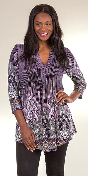 Plus Tunics - La Cera 3/4 Sleeve Pleated Poly Blend in Pinstripe Plum
