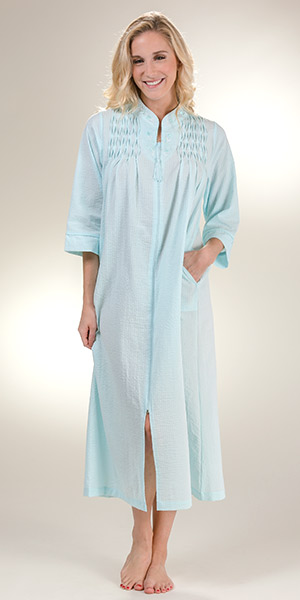 Seersucker Miss Elaine Robes - Long Smocked Zip Front in Turquoise